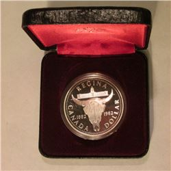 """1882-1982 Canada """"Bison"""" Proof Commemorative Silver Dollar. In original Royal Mint holder as issued."""