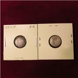 1882 H & 1883 H Canada Five Cent Silvers. AG-G. Cat. Value $16.00