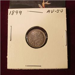 1899 Canada Five Cent Silver. AU. Catalog value $70.00.