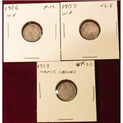 1906 Wide Date, 1907 Wide Date, & 1909 Maple Leaves VG-VF. Cat. Value $28.00.
