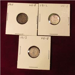1911, 12, & 13 Canada Five Cent Silvers. VG.