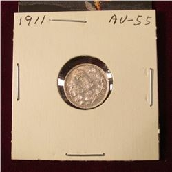 1911 Canada Five Cent Silver. AU. Catalog Value $75.00.