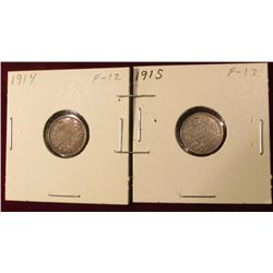 1914 & 1915 Canada Five Cent Silvers. Fine. Catalog value $25.00.
