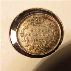 1920 Canada Five Cent Silver. EF. Catalog Value $15.00.