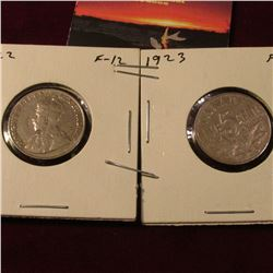 1922 & 23 Canada Nickels. Fine. Catalog Value $16.00.