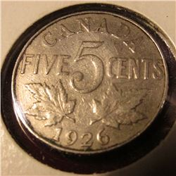 1926 Far 6 Canada Nickel. Rare. Catalog Value $275.00.