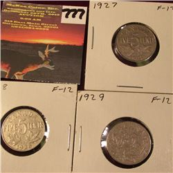 1927, 28, & 29 Canada Nickels. F. Catalog Value $24.00.