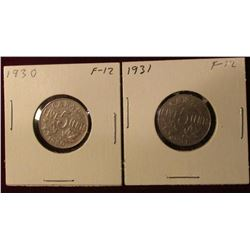 1930 & 31 Canada Nickels. F. Catalog Value $16.00.
