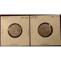 1930 & 31 Canada Nickels. EF. Catalog Value $40.00.
