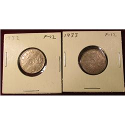 1932 & 33 Canada Nickels. F. Catalog Value $16.00.