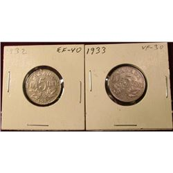 1932 & 33 Canada Nickels. VF-EF. Catalog Value $35.00.