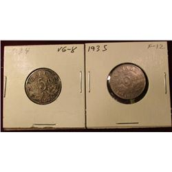 1934 & 35 Canada Nickels. VG-F. Catalog Value $13.00.