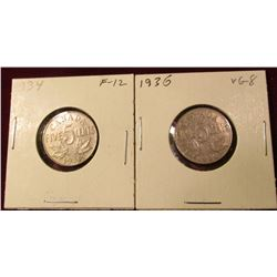 1934 & 36 Canada Nickels. VG-F. Catalog Value $13.00.