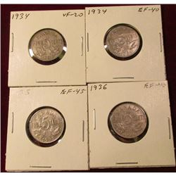 (2) 1934, 35 & 36 Canada Nickels. VF-EF. Catalog Value $80.00.