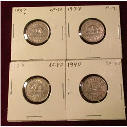 1937 VF, 38 F, 39 EF, & 40 EF Canada Nickels. Catalog Value $45.00.