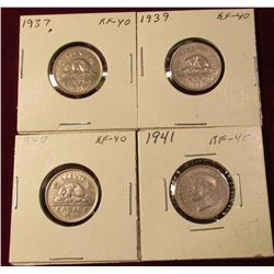 1937, 39, 40, & 41 Canada Nickels. All EF. Catalog value $24.00.