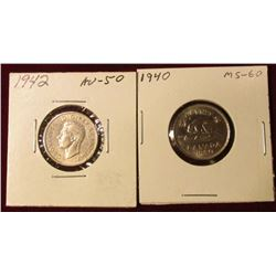 1940 & 42 Canada Nickels. AU-Unc. Catalog value $35.00.
