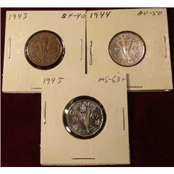 1943 EF, 44 AU, & 45 Gem BU Canada Nickels. Catalog value $37.00.