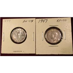 1944 AU & 47 EF Canada Nickels. Catalog value $15.00.