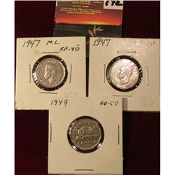 1947 , 47 Maple Leaf, & 49 Canada Nickels. Both EF-AU. Catalog Value $20.00.