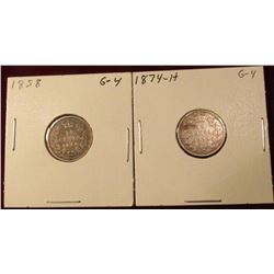 1858 & 1874 H Canada Silver Dimes. Good. Catalog value $35.00.