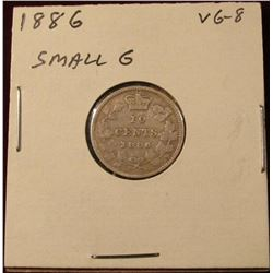 1886 Small 6 Canada Silver Dime. VG. Catalog Value $50.00.