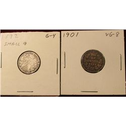 1892 Small 9 Good & 1901 VG Canada Silver Dimes. Catalog Value $30.00.