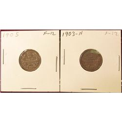 1903 H Fine & 1905 Fine Canada Silver Dimes. Catalog value $60.00.