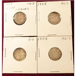 1906 AG, 1907 Good, 1908 AG, & 1909 Broad Leaves VG Canada Silver Dimes. Catalog value $30.00.