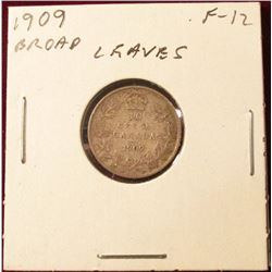 1909 Broad Leaves Fine Canada Silver Dime. Catalog value $35.00.