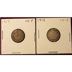 1916 & 1917 VG Canada Silver Dimes. Catalog value $16.00.