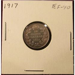 1917 Canada Silver Dime. EF. Catalog value $20.00.