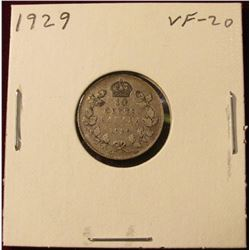 1929 Canada Silver Dime. VF. Catalog value $15.00.