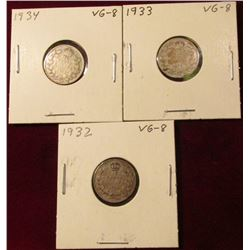 1932, 33, & 34 Canada Silver Dimes. VG. Catalog value $24.00.