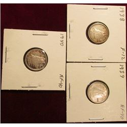 1938 Fine, 39 EF, & 40 EF Canada Silver Dimes. Catalog value $25.00.