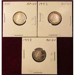 1941, 42, & 43 Canada Silver Dimes. EF-AU. Catalog value $45.00.
