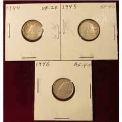 1944, 45, & 46 Canada Silver Dimes. VF-EF. Catalog value $45.00.
