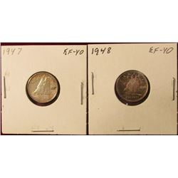 1947 EF & 48 EF Canada Silver Dimes. Catalog value $40.00.