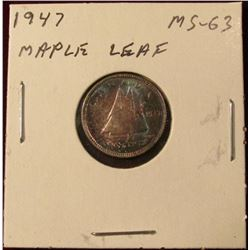 1947 Maple Leaf Canada Silver Dime. Brilliant Unc. Catalog value $40.00.