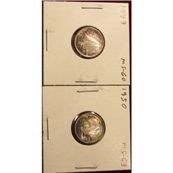 1950 & 53 Canada Silver Dimes. Both Superb Brilliant Toned Uncs. Catalog value $45.00.