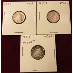 1951 VG, 53 VF, 54 Brilliant Toned Unc Canada Silver Dimes. Catalog value $35.00.