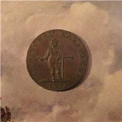 "1793 Birmingham Half Penny ""Industry Has it's Sure Reward"" Token. EF."