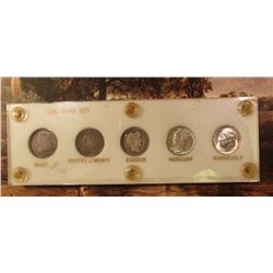 U.S. Type Set of Silver Dimes. Includes an 1831 Bust Dime, 1853 Arrows Seated Dime, 1902 P Barber Di