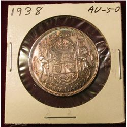 1938 Canada Silver Half Dollar. AU. Catalog Value $95.00.