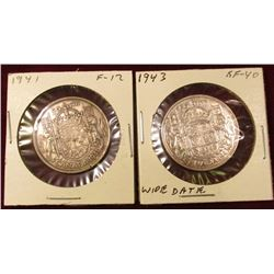 1941 Fine & 43 EF Canada Silver Half Dollars. Catalog Value $20++.