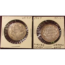 1941 Very Fine & 47 Curved 7 Narrow Date EF Canada Silver Half Dollars. Catalog value $50.00.