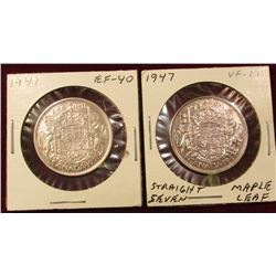 1941 Extra Fine & 47 Straight 7 VF Canada Silver Half Dollars. Catalog value $85.00.