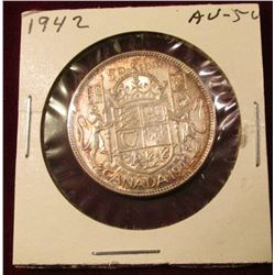 1942 Canada Silver Half Dollar. AU. Catalog value $25.00.