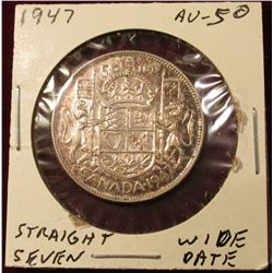 1947 Straight 7, Wide date Canada Silver Half Dollar. AU. Catalog value $65.00.