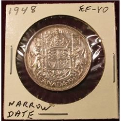 1948 Narrow date Canada Silver Half Dollar. EF. Catalog value $225.00.